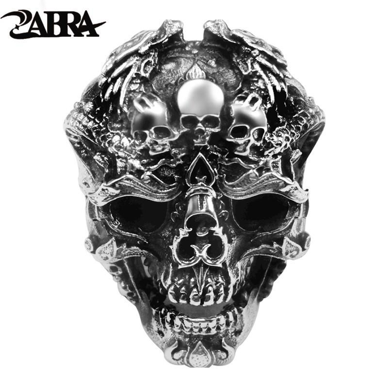 Zabra Real 925 Sterling Silver Skull Ring Men Adjustable Dragon Ring Punk Rock Many Skeletons Mens Gothic Halloween Jewelry J190625