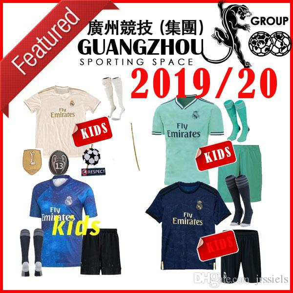 huge selection of 5a368 be779 kids kit 19 20 Real madrid Soccer jerseys THIRD AWAY 2019 HOME BENZEMA  MODRIC isco MARCELO bale ASENSIO camiseta de futbol FOOTBALL SHIRTS