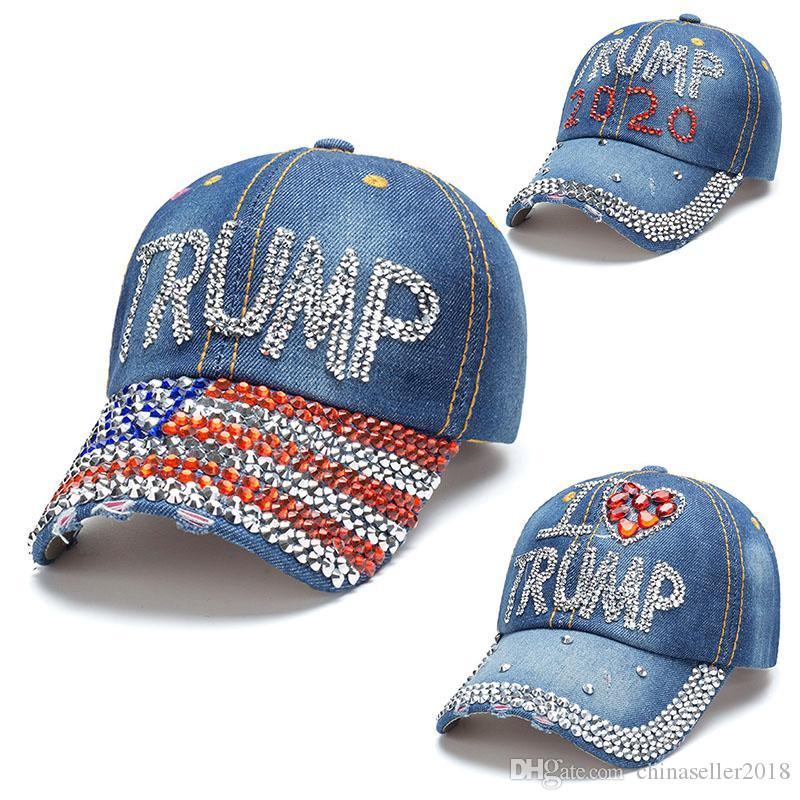 I più nuovi 2020 Donald Trump Hat 3 stili Denim Presidente diamante ricopre i cappelli da baseball registrabili Snapback Donne Outdoor Sports Cap