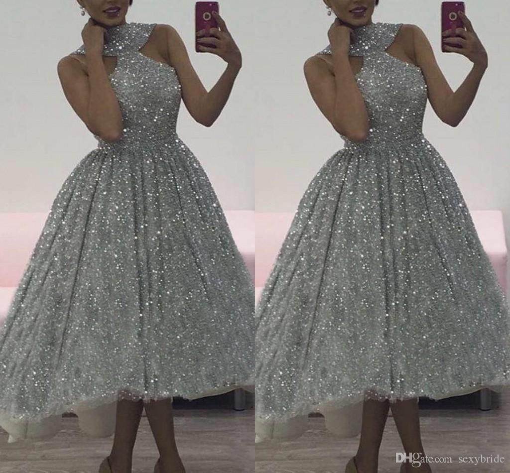 cf86fef16e6 Charming Silver Sequins Prom Dresses High Low 2018 Halter Sleeveless Soft  Fitting Tea Length Gliter Cocktail Party Dresses Plus Size 50s Prom Dress  After ...