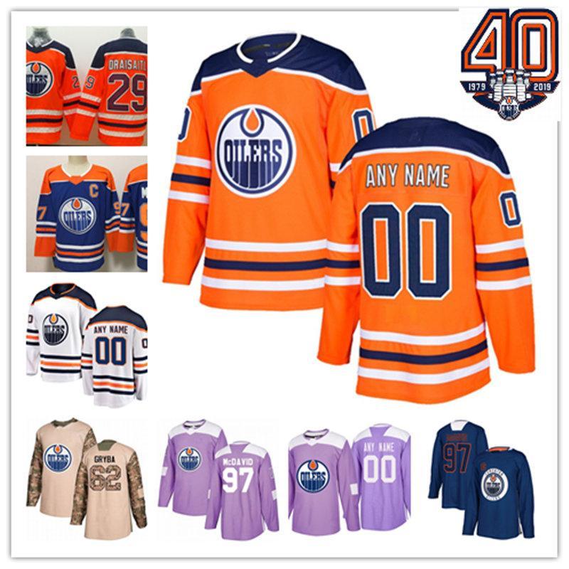 quality design 630f6 b4f10 Custom Edmonton Oilers Jersey Mikko Koskinen Milan Lucic Leon Draisaitl Cam  Talbot Ryan Nugent-Hopkins Connor McDavid Edmonton Oilers Jersey