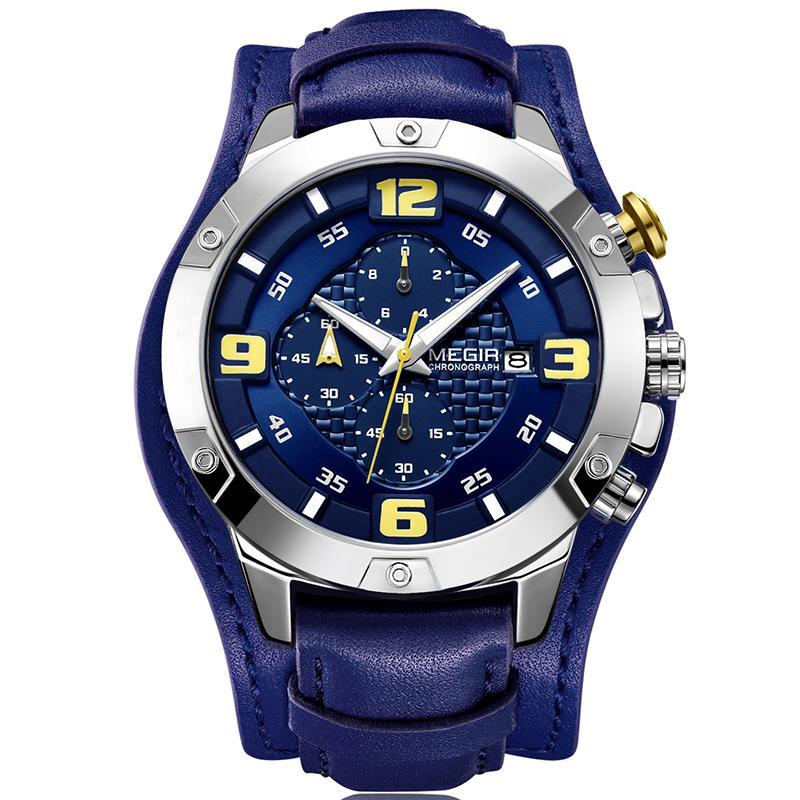 2518c05647d Compre MEGIR Top Marca De Luxo Homens Relógio Novo 2018 Moda Casual Quartz  Chronograph Pulseira De Couro Relógios De Pulso Relogio Masculino De  Value222