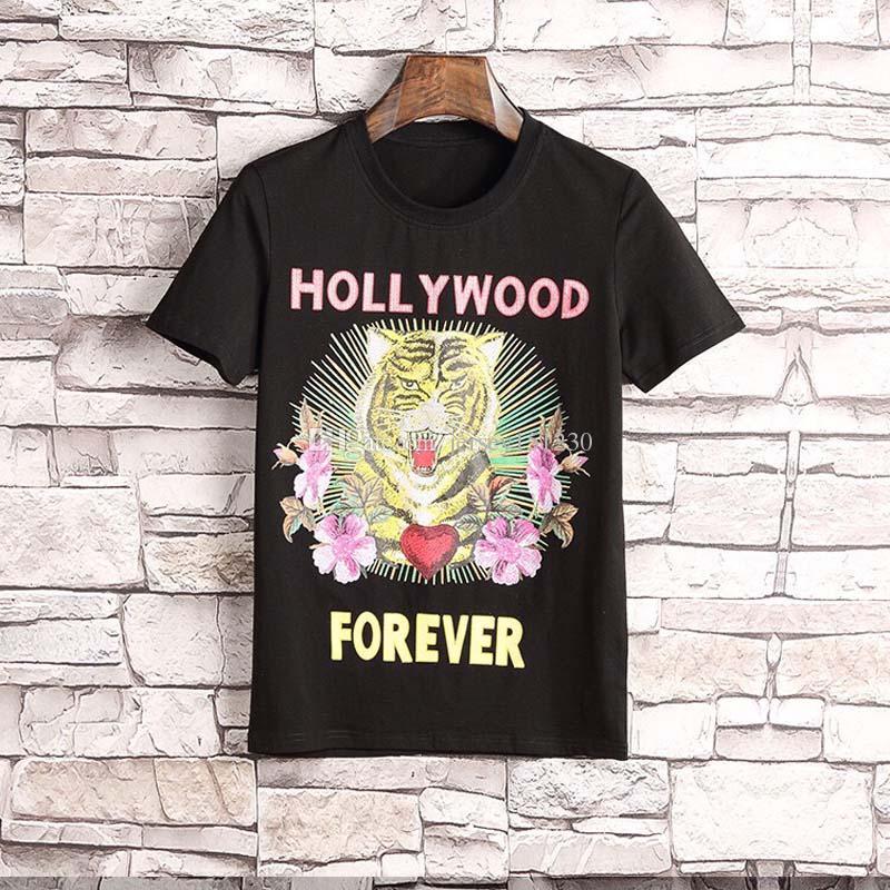 600b464810a6 2019 NEW Summer Designer T Shirts Mens Tops Tiger Head Letter Embroidery T  Shirt Mens Clothing Brand Short Sleeve Tshirt Women Tops M 3XL T Shirt  Designs ...