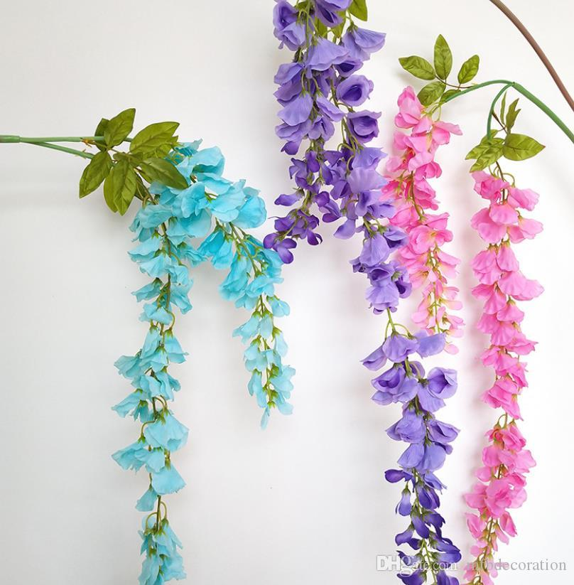 High-end simulation silk wisteria flower long string rattan ceiling hanging indoor outdoorwedding party decoration www xxx com