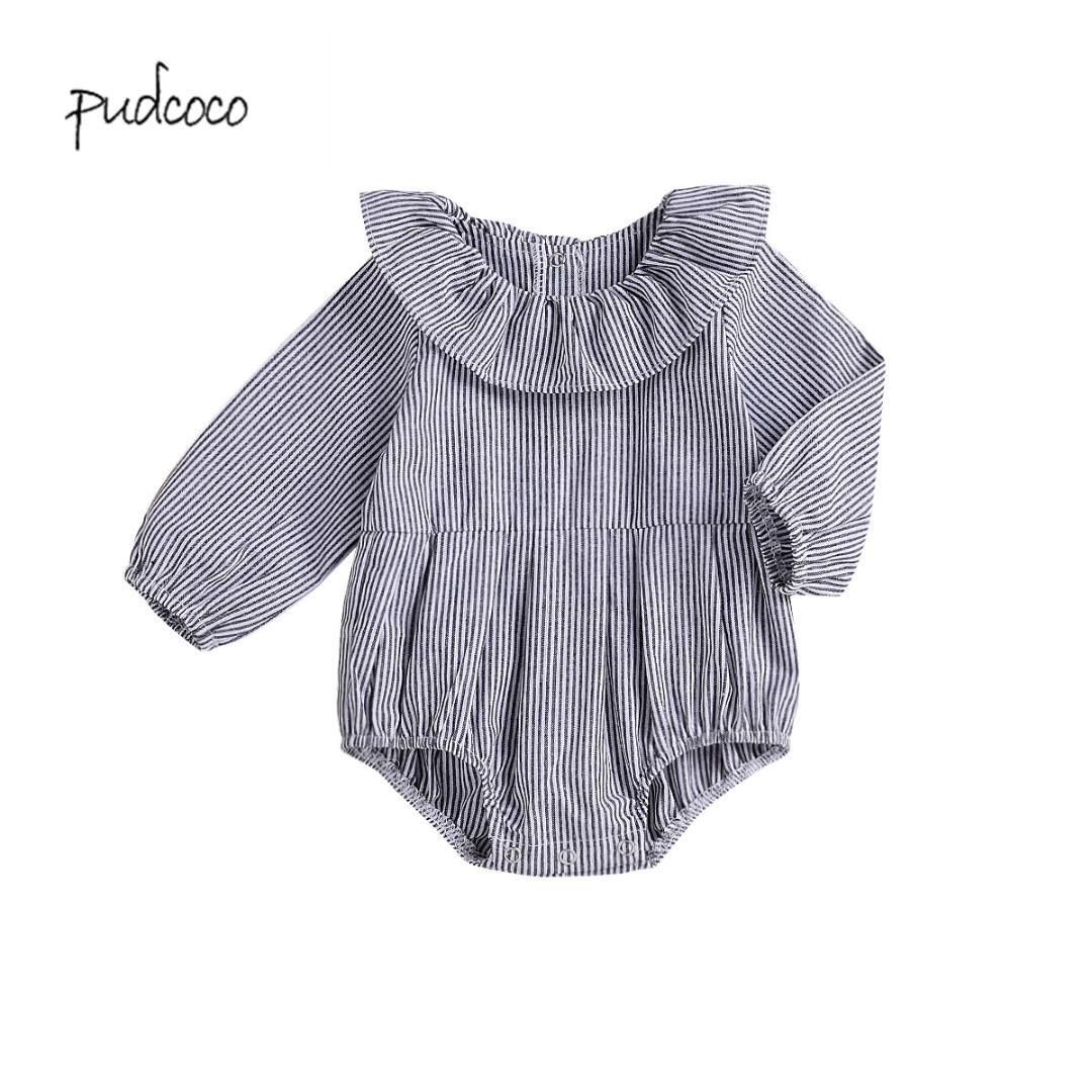 beba641a50c0 Pudcoco 2019 New Brand Newborn Baby Girl Stripe Long Sleeve One ...
