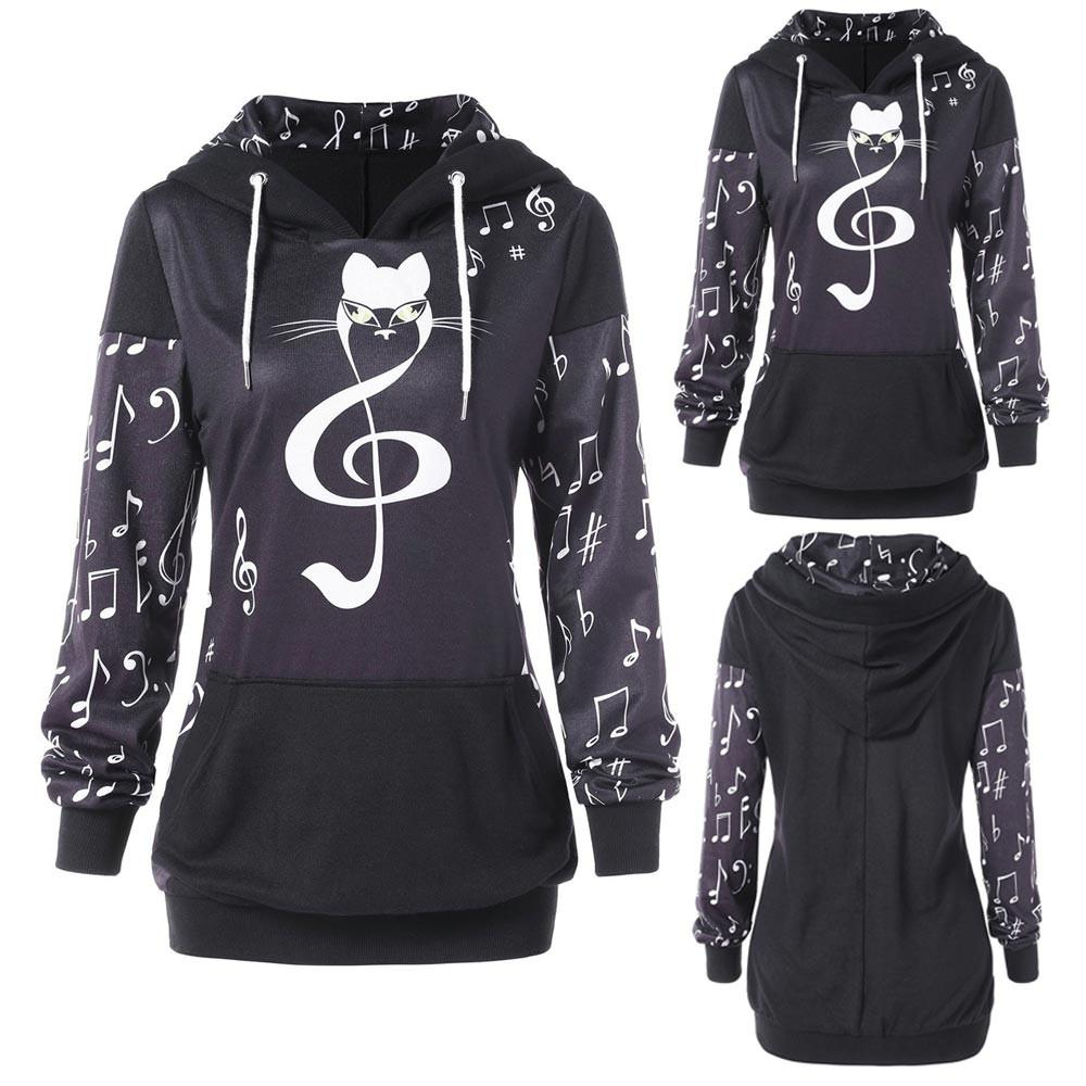 Korean Womens Cat Print Hoodie Music Notation Print Sweatshirt Tops  Sweatshirt Elasticity Casual Coolmax From Robertiu 71e169e7e0