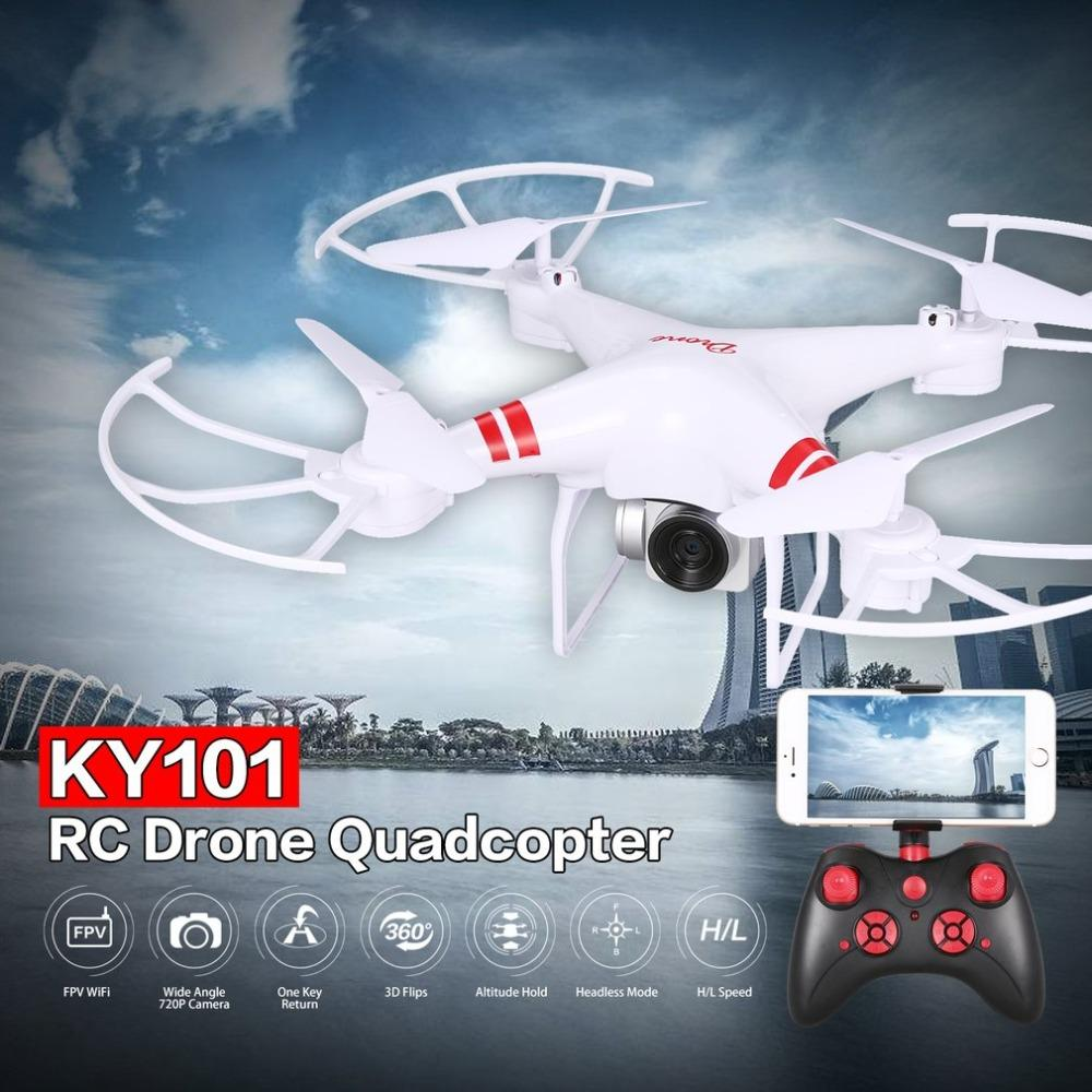 KY101 RC Drone con fotocamera HD 720P / 1080P Wide Angle Selfie Drone pieghevole professionale Quadcopter Headless One Return Return Drones