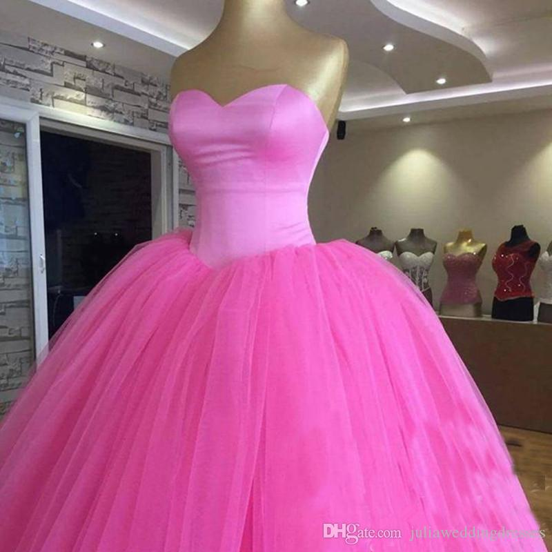 1699a741583 2019 Elegant Hot Pink Ball Gown Quinceanera Dresses Beaded Sweet 16 Year  Prom Party Evening Gown Vestidos De 15 Anos QC1391 Rehearsal Dinner Dresses  Semi ...