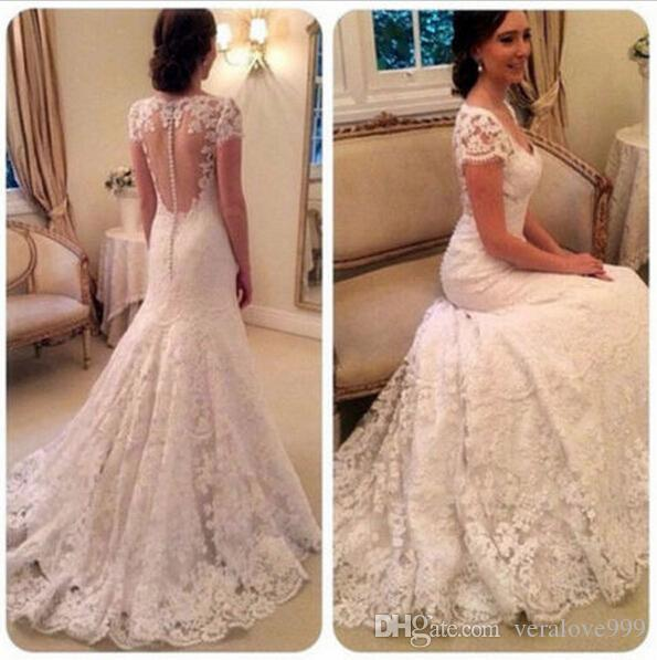 2019 Elegant V-neck Full Lace Wedding Dresses Cap Sleeves Romantic Illusion Button Back Long Mermaid Bridal Gowns with Sweep Train