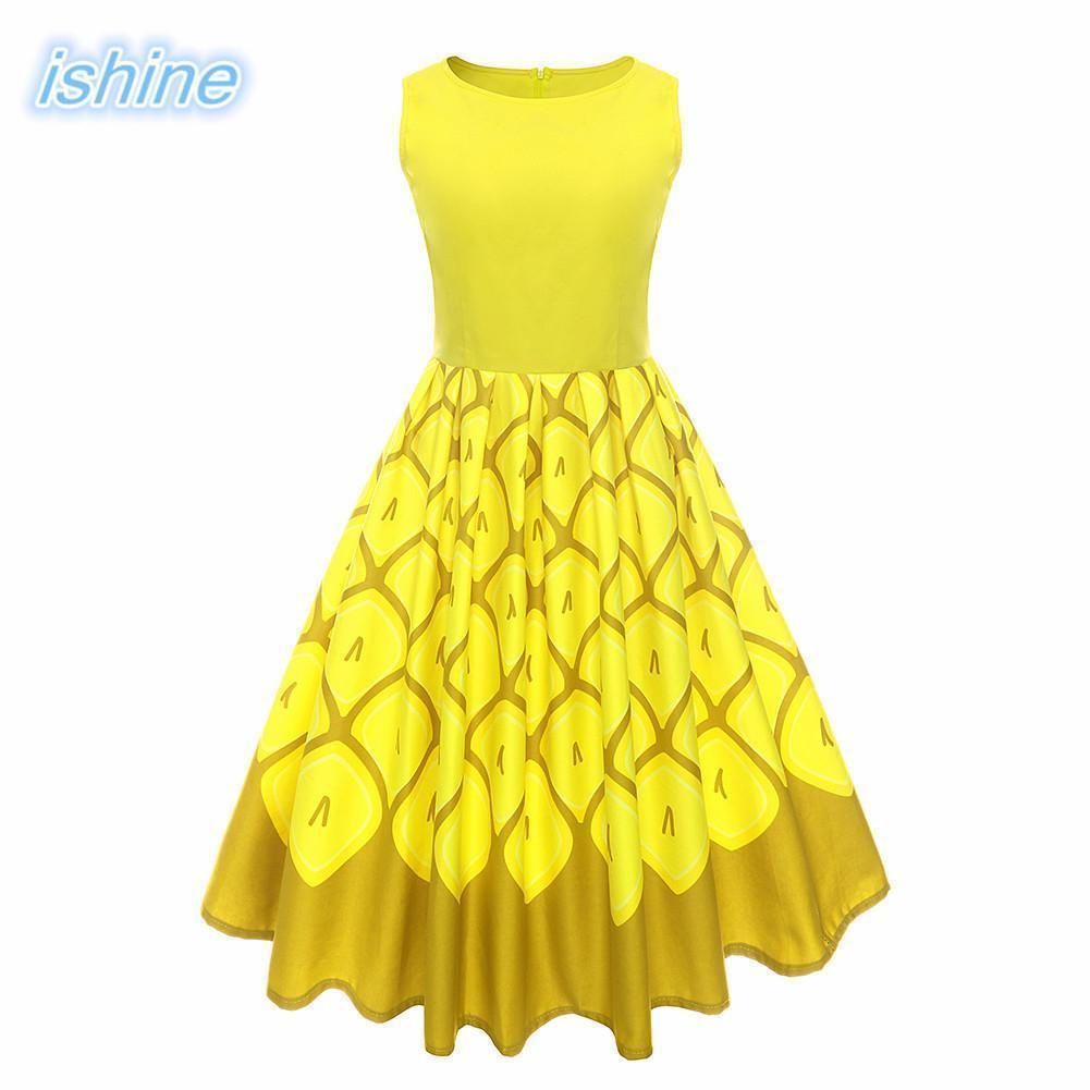 605d783da4b2b Yellow Women Retro Dress 2018 New 50s 60s Vintage Dresses Print Sleeveless  Spring Summer Dress Rockabilly Swing Party Gown Y19051001