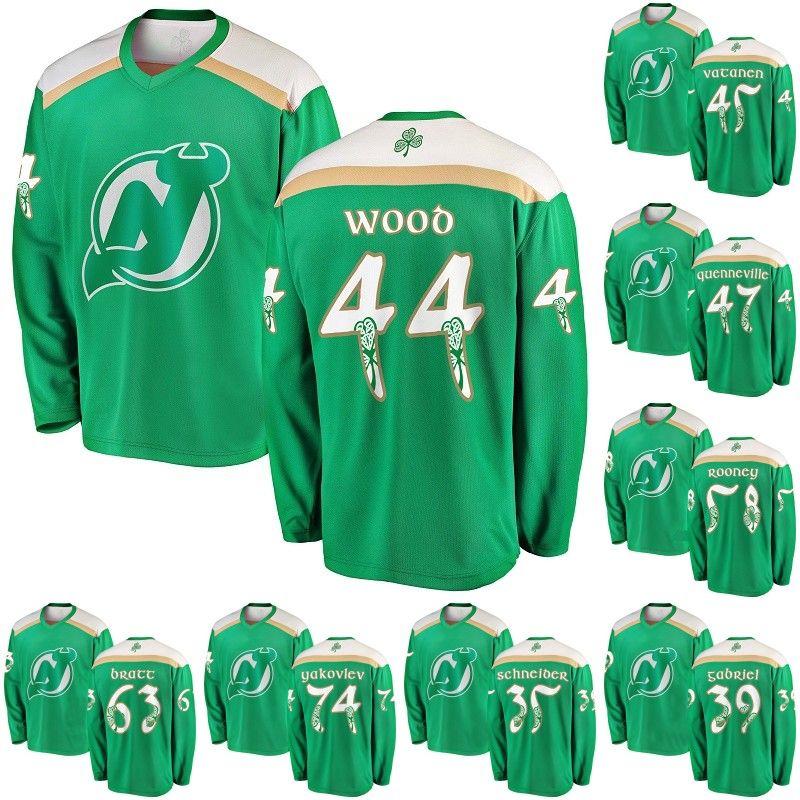 best service 0441f 0886f Green 2019 St. Patrick s Day Jersey 35 Cory Schneider 44 Miles Wood 58  Kevin Rooney 63 Jesper Bratt New Jersey Devils Hokcey Jerseys