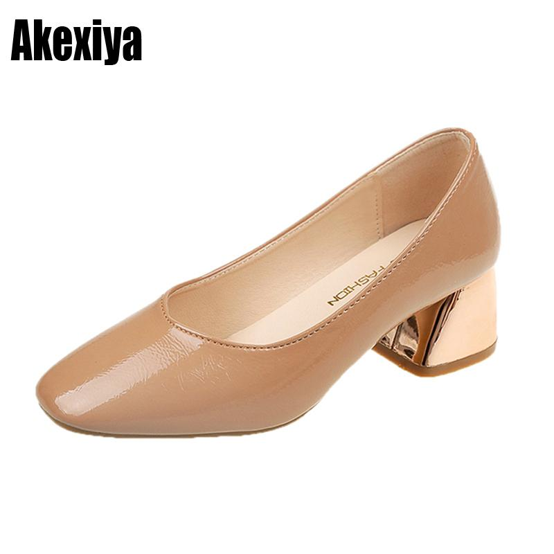 0803a305f6c5 Dress New Women Pumps Sweet Style Square High Heel Square Toe Spring And  Autumn Elegant Shallow Ladies Shoes Size 35 39 D619 Nude Shoes Womens  Sandals From ...