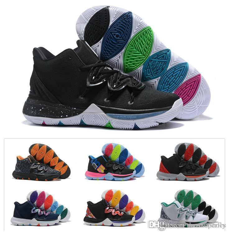 sports shoes 58b6b e09ad New Boys Kids Kyrie V 5 Black Magic Basketball Shoes Irving 5S Youth Girls  Women Zoom Sport training Sneakers High Ankle Size 4Y-7Y