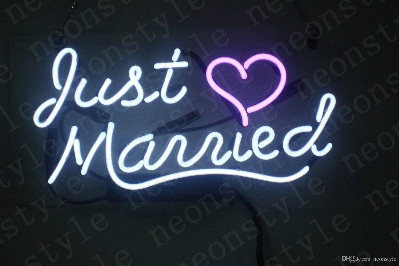 2020 Just Married Gift Neon Signs Light Real Glass Tube