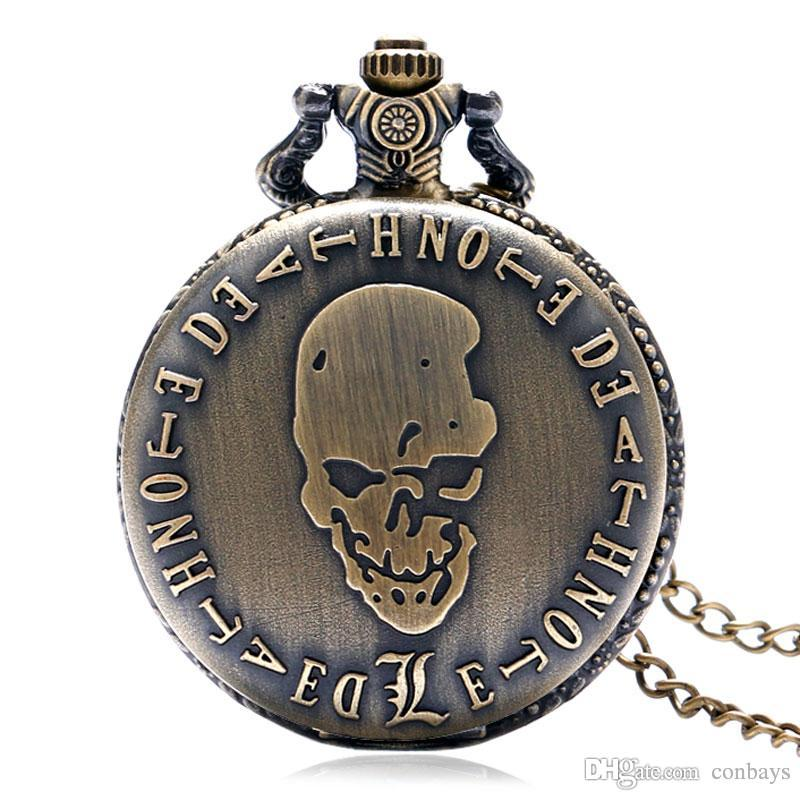 Bronze Evil Skull Death Note Design Theme Fob Quartz Pocket Watch Full Hunter Necklace Pendant Best Xmas Birthday Gift for Men Women