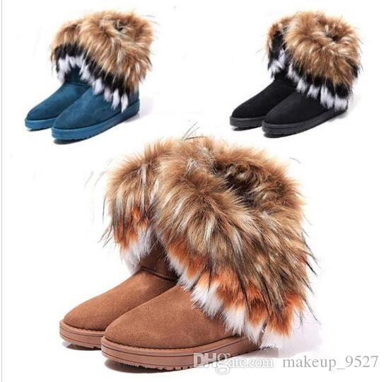 2019 Fashion Fox Fur Warm Autumn Winter Wedges Snow Women Boots Shoes GenuineI Mitation Lady Short Boots Casual Long Snow Shoes size 36-42