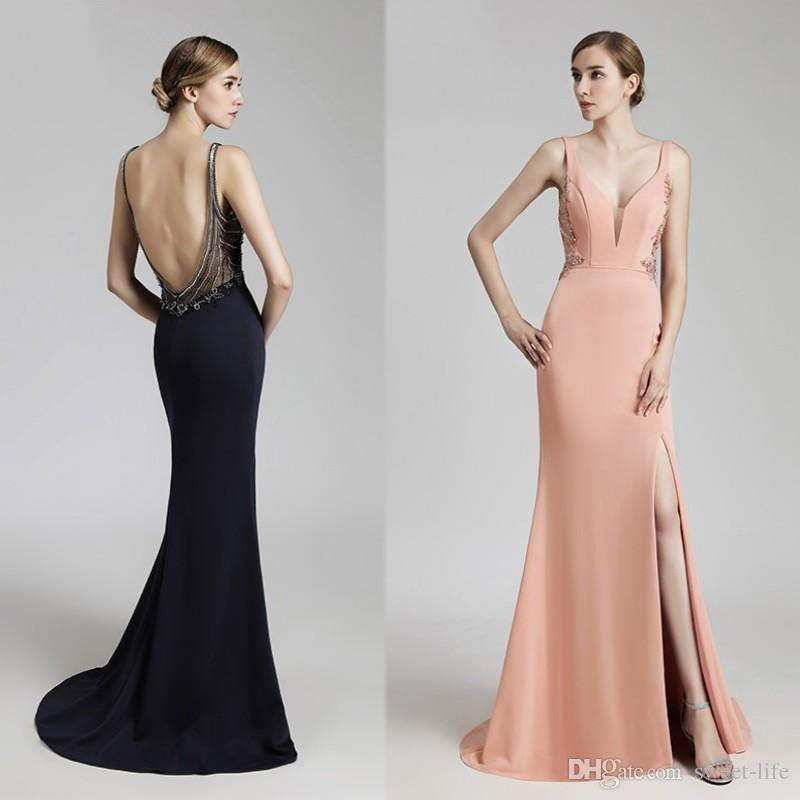 8db5c116625 2019 Navy Blue Sheath V-Neck Long Evening Dresses Sexy Backless Beading  Crystals Mermaid Side Split Party Dress Prom Gowns Floor Length Evening  Dresses ...