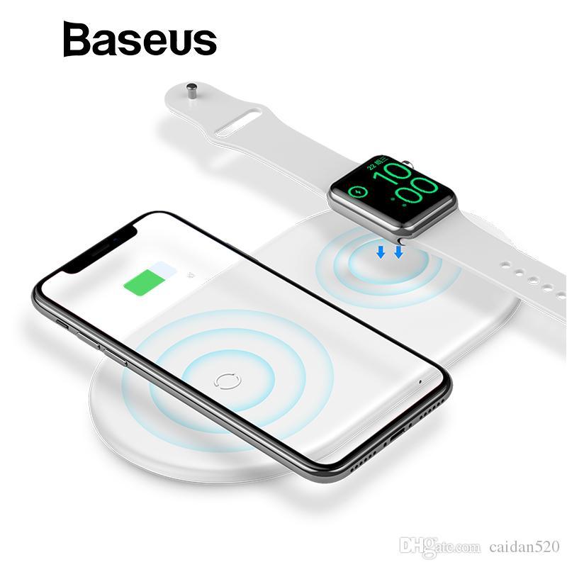 c8aea7dd6a9 Cargador De Movil Baseus 2 En 1 Cargador Inalámbrico Para IPhone X / XS Max  / XR / Apple Watch 4 3 2 Cargador Para Samsung S8 S9 10W Rápido Inalámbrico  De ...
