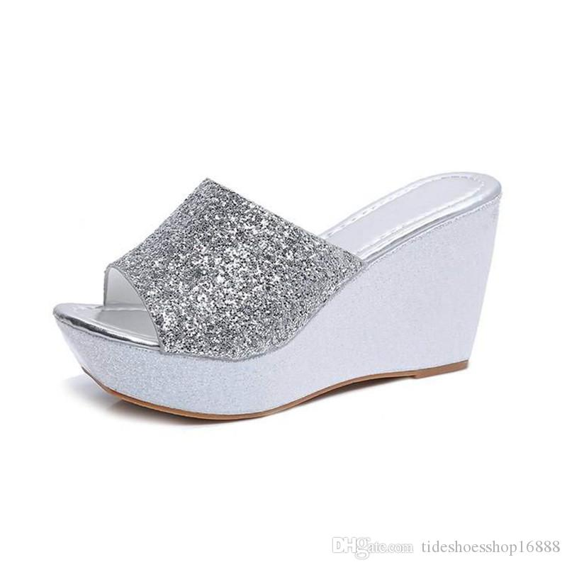 2e2fe49d9 Silver/Gold Woman Glitter Platform Slippers Women Brand Designer Sequins  Flip Flops 2018 Summer Platform Slides Sandals Slippers Wedges Shoe Rain  Boots Mens ...