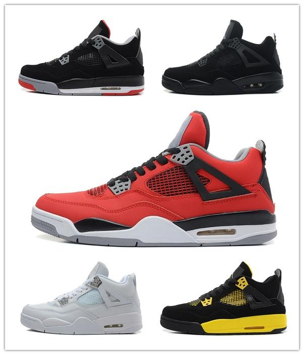 2019 Bred 4 Basketball Shoes 4s Pale Citron Pizzeria Lightning Singles Day Tattoo LASER Hot Punch Oreo Mens Sports Sneakers 7-13