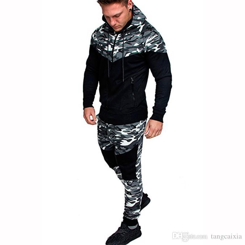 41e996ae9487e New Camouflage Printed Tracksuit Men Set Causal Patchwork Jacket Men 2Pcs  Tracksuit Sportswear Hoodies Sweatshirt Pants Jogger Suit
