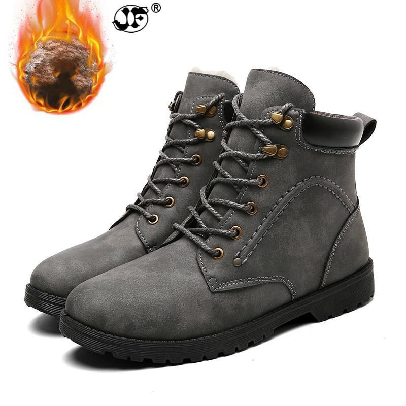 0805e3dcbcb175 Großhandel Winter Männer Stiefel Kurze Plüsch 2018 Schuhe Männer PU  Schneeschuhe Gummi Ankle Botas Mode Leder Schneeschuhe Schnüren 768 Von  Ycqz4