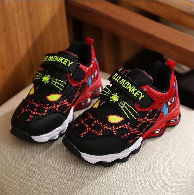 Kinder Schuhe Neue Frühling Herbst Spiderman Nacht Flash Sport Turnschuhe Leichte Schuhe für Kinder Sneaker Jungen Stiefel Mädchen