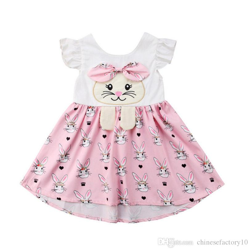 d0a7a3f790d3 2019 Easter Baby Girls Rabbit Print Dresses Flying Sleeves Cartoon ...