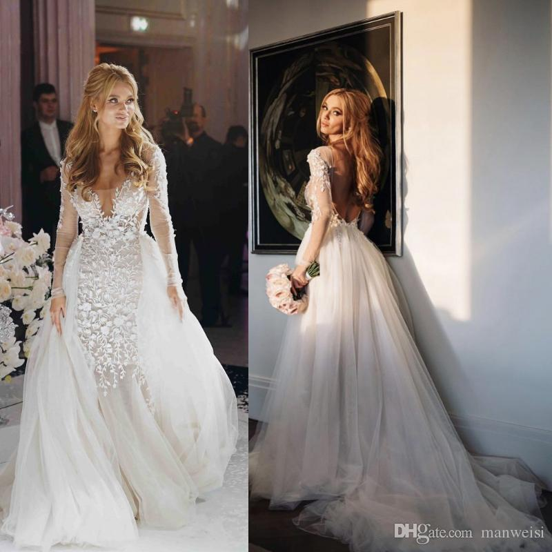 Blake Lively Wedding Dress.Blake Lively Mermaid Wedding Dresses With Detachable Train Sheer Long Sleeve 2019 Berta Flowers Lace Tulle Sexy Backless Beach Bridal Gowns