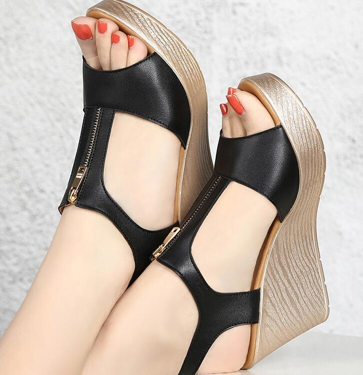 2bedd36baa6 Fashion Summer Shoes Womens Party Wedge High Heel Sandals Pu Leather Women  Sandals Non-slip Buckle Strap Shoes