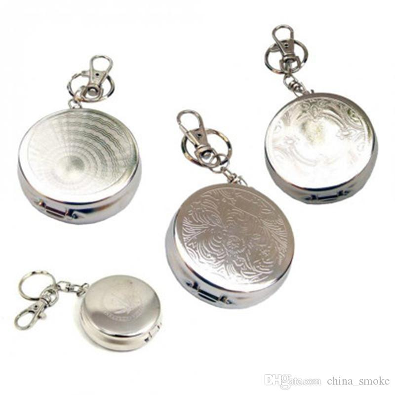 Stainless Steel Portable Small Ashtray with Keychain Ashtray Pocket Watch Mini Ashtrays Spot Wholesale Smoking Accessories Fashion
