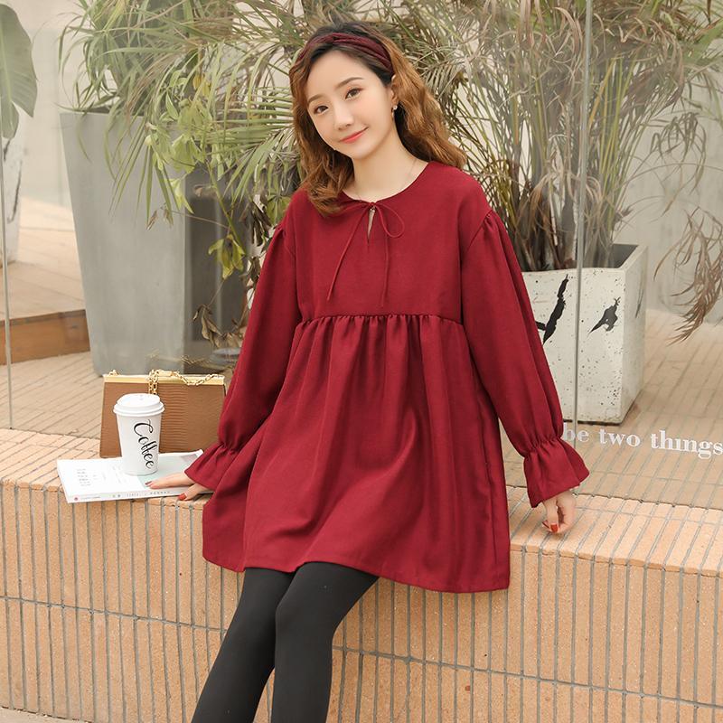 bc3f2d1db Compre 8091   2019 Blusas De Maternidad De Moda De Primavera Camisas Sueltas  De Gran Tamaño Ropa Para Mujeres Embarazadas Manga Larga Dulce Embarazo  Tops A ...
