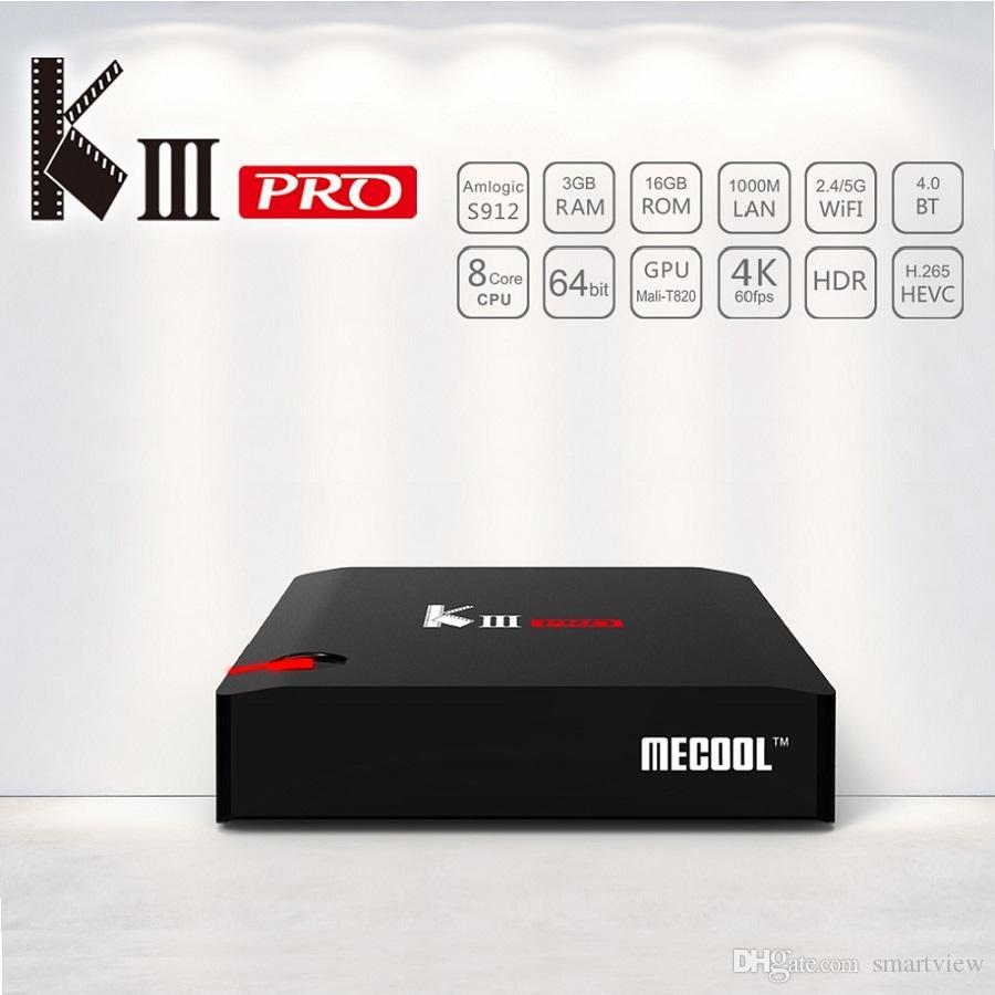 MECOOL KIII PRO DVB S2 DVB-T2 DVB-C Android 7 1 TV Box 3GB 16GB Amlogic  S912 Octa Core 64bit 4K Combo CCCAM NEWCAMD