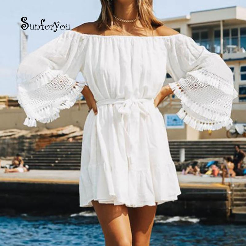 69b10b4d0352 Summer Beach Dress Cover-ups White Cotton Lace Mini Beach Dress Tunic For  Women Pareo Beach Swimsuit Cover up Sexy