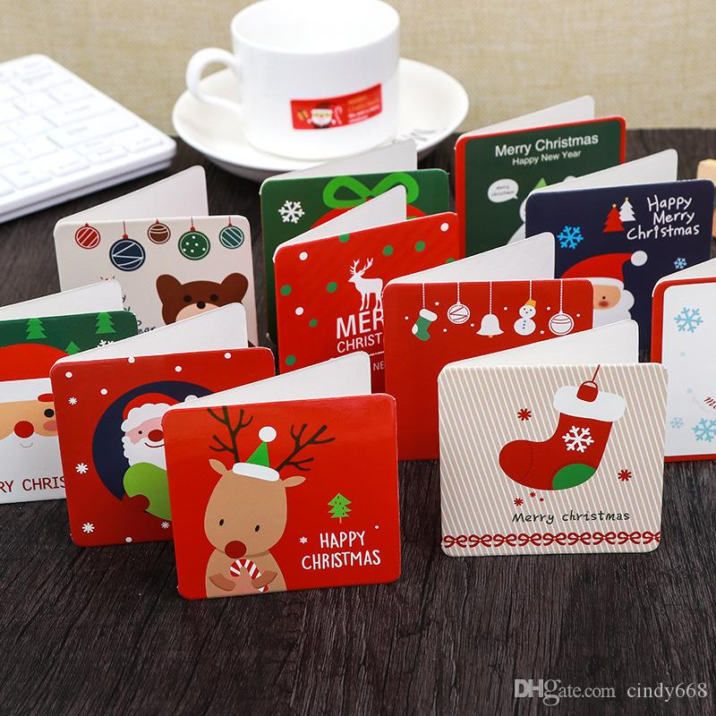 144 Pcs Christmas Card Cartoon Snowman Santa Claus Thanksgiving Paper Gift Card Xmas Greeting Cards Party Postcard With Envelope