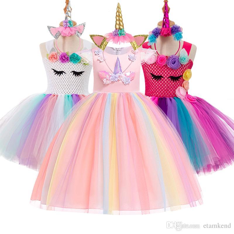 767901e3175f8d 2019 vestido de fiesta de la princesa Unicorn Party Girls Dress Elegante  traje de boda vestidos para niñas Vestidos fantasia infantil
