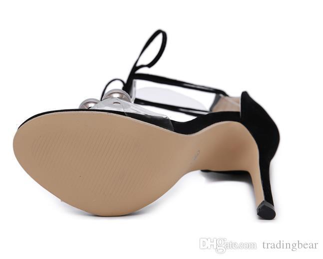 Mode rivets noir wrap cheville talons hauts sandales gladiator glisse stiletto Come With Box taille 35 à 40