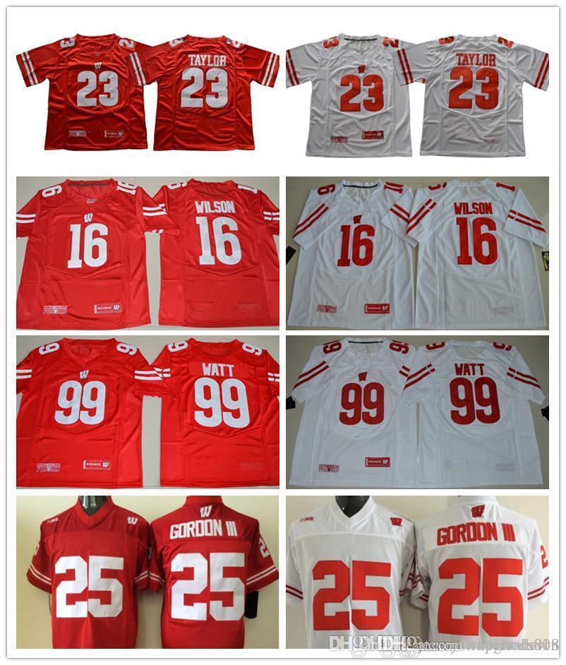 new styles d1917 237c5 Men Jonathan #23 Taylor #25 Melvin Gordon #16 Wilson 99 Watt White Red  Wisconsin Badgers College football jerseys