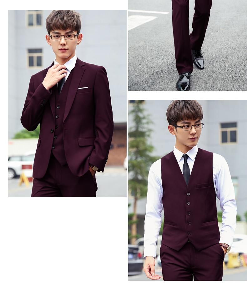 37dae095c065 A three-piece suit men qiu dong han edition cultivate one's morality small  suit business professional dress the groom's wedding dress