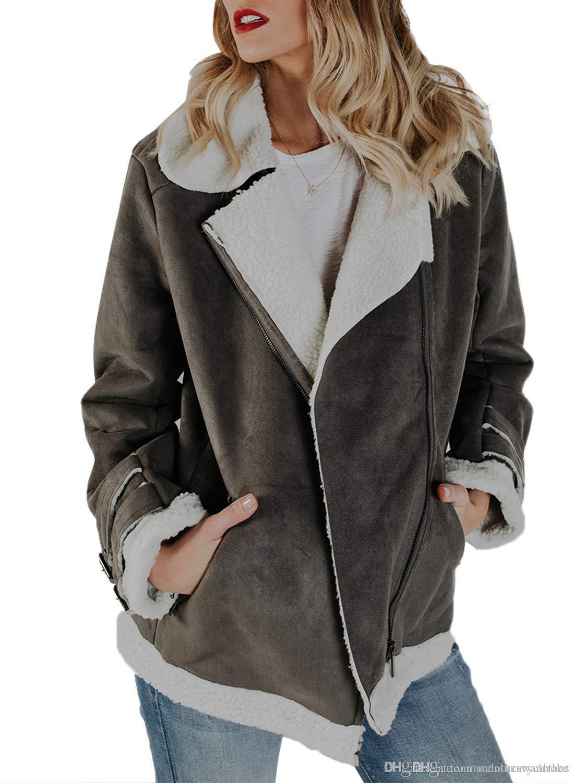 0dc4be89d1af New Motorbike Women Suede Leather Designer Jacket Plus Size Pockets ...