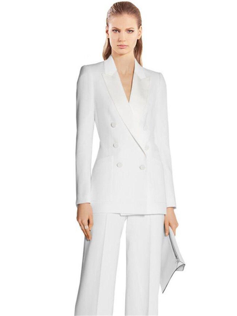 6778723b4b7b3 White Women Business PantSuits 2 Piece Formal Professional Elegant  Pantsuits Office Uniform Style Ladies Office Work Wear