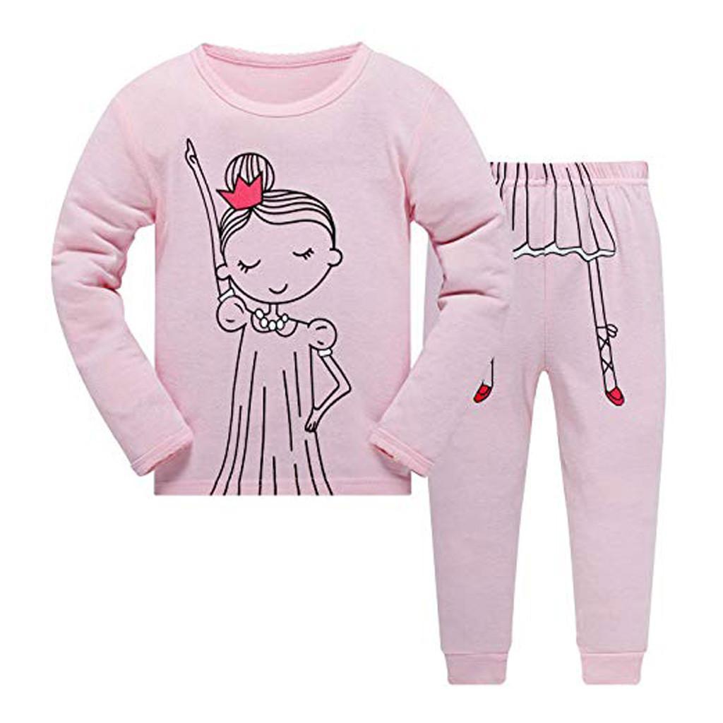 Compre 2019 Moda Para Niños Baby Boy Ropa Para Niñas Conjunto Pijamas De  Dibujos Animados Impresos Tops Pantalones Trajes De Ropa De Bebé Niña Set  ... 15777fba44c8