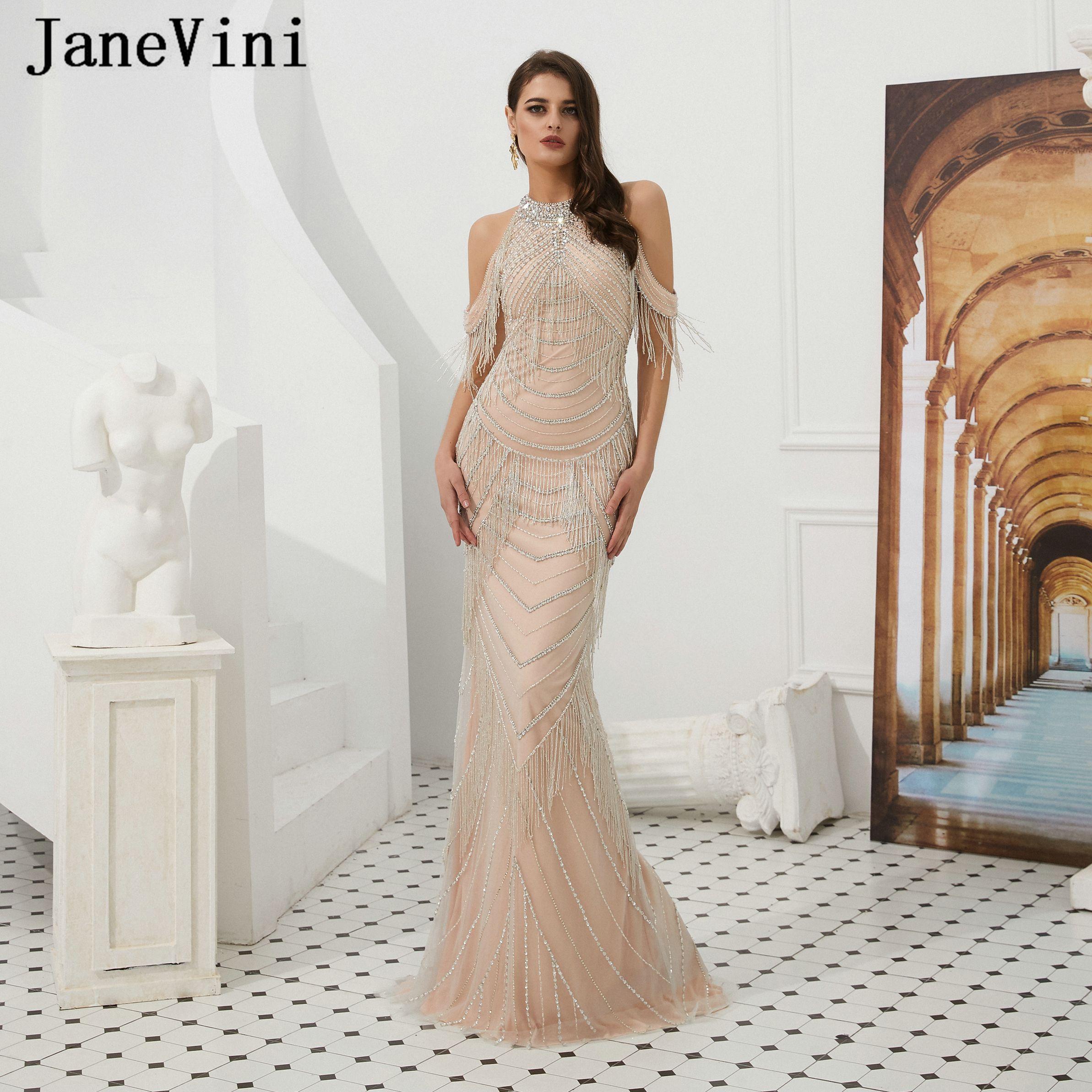 9b63560316 JaneVini 2019 Luxury Mermaid Long Evening Dresses High Neck Tassel Beading  Sleeveless Sheer Back Women Sexy Prom Party Gowns Vestido Largo