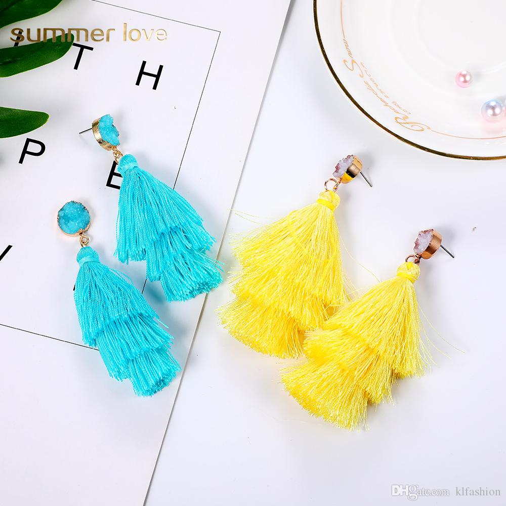 New Arrival Polyester Filament Tassel Dangle Earring for Women 11 Color Crystal Narural Stone Bohemian Long Earring Fashion Jewelry