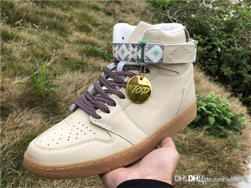 521129add8 2019 New Authentic 1 High Strap N7 Light Cream Basketball Shoes For Men  Women Sports Sneakers With Original Box AR4410 207 From China5