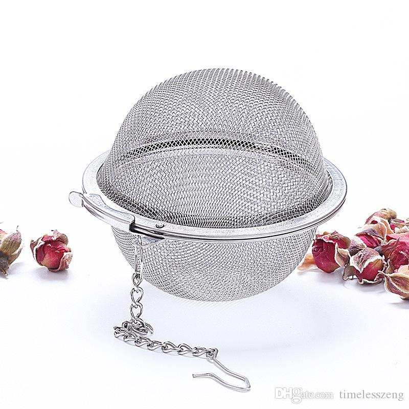 High Quality Tea Strainer 304 Stainless Steel Tea Pot Infuser Mesh Ball Filter With Chain Tea Maker Tools