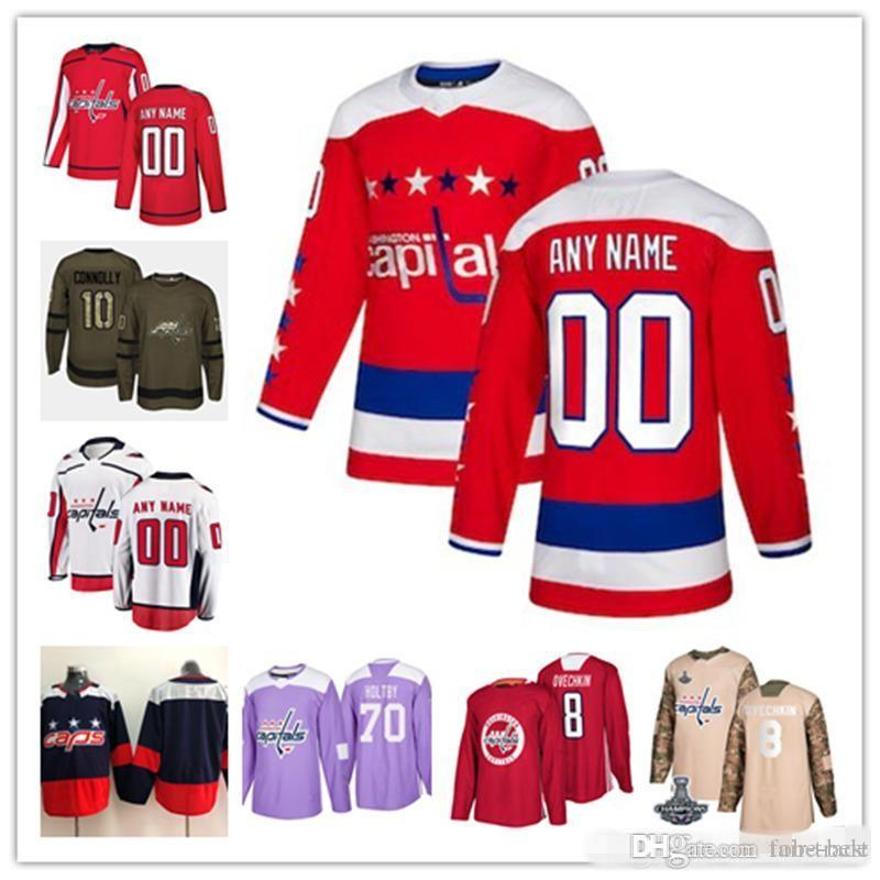 new styles 633c1 2ad78 Custom Washington Capitals 2018 Red Third Jersey Any Number Name men women  youth kid White Navy Stanley Cup Champions Caps Ovechkin Vrana