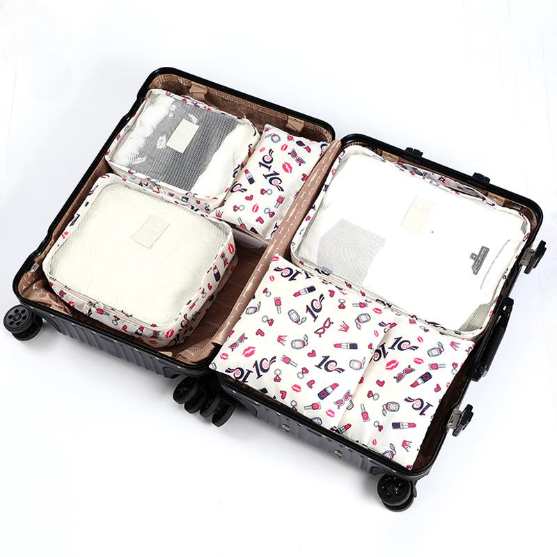 6pcs/set Packing Cubes Travel Bags Women Clothing Cosmetics Shoes Data line  Sorting Organizer Storage Pouch Luggage Accessories