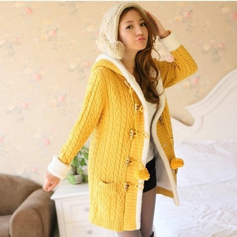 191105 Spring Winter Women Thick Causal Single Breasted Hooded Knitted Cardigan Coat Long Sleeve Warm Slim Sweater Jacket V