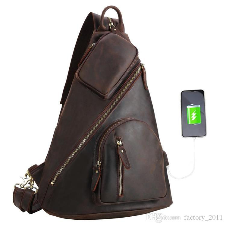 8ae848a9d47a Genuine Leather Shoulder Bag Men Multifunction USB Charging Leather Chest  Sling Backpack Crossbody Pack Bags with One Strap LX5115BX